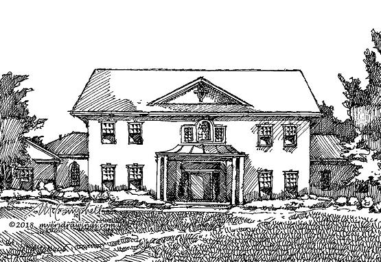 Myers Campbell line drawing house