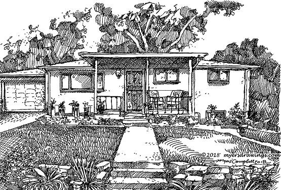 Myers Campbell cabin sketch