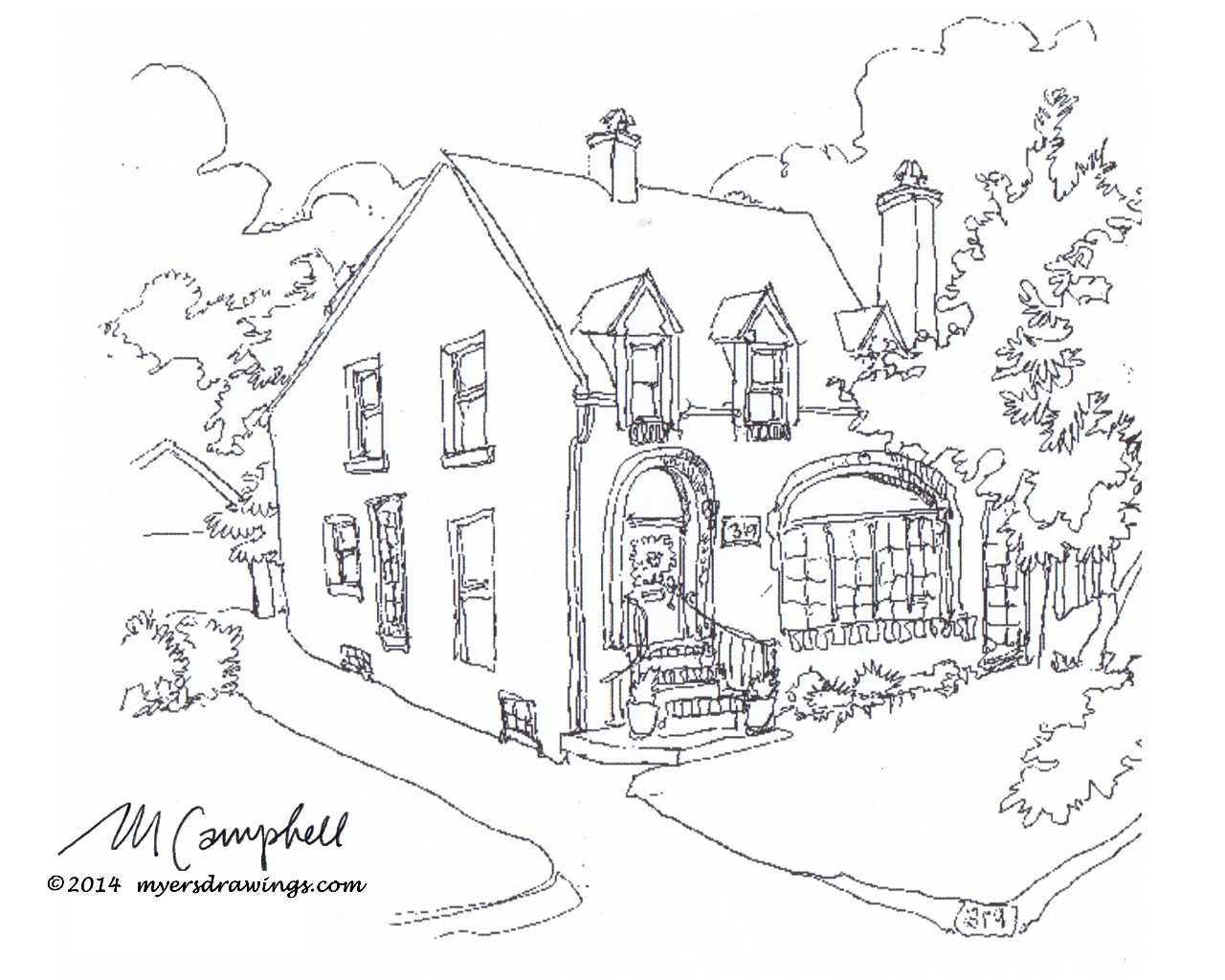 Myers Campbell artist, house sketches